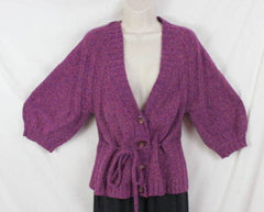 J Jill Sweater S size Purple Tie Waist Cardigan Short Sleeve Cotton Blend Womens - Jamies Closet - 2