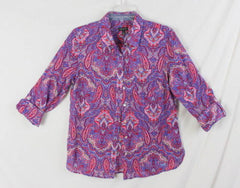 Talbots Blouse 6 S size New Multi Color Paisley Lightweight button front Womens - Jamies Closet - 2