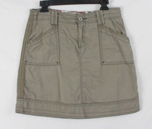 Aventura Skirt 6 S size Organic Cotton Khaki Brown Casual Easy Wear Outdoor - Jamies Closet - 1
