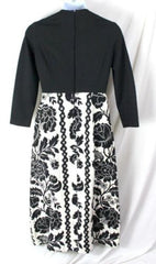 Vtg Rona M L size Black White Long Tapestry Cocktail Party Dance Dress Hostess - Jamies Closet - 6