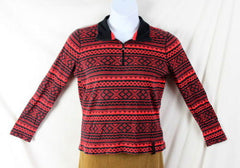 Ralph Lauren Active Sweater L size Red Black Zip Neck Henley Womens LRL Top - Jamies Closet - 2