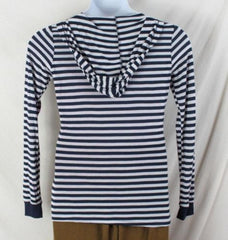 Romeo & Juliet Couture Top L size New Blue White Hooded Lightweight Tee Shirt - Jamies Closet - 4