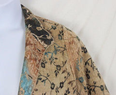 Tapestry Jacket L size Reversible Brown Blue Floral Lightweight All Season - Jamies Closet - 6