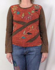 Mexicali Blues Blouse M size Brown Floral Embroidered Hippy Boho Top All Season - Jamies Closet - 2