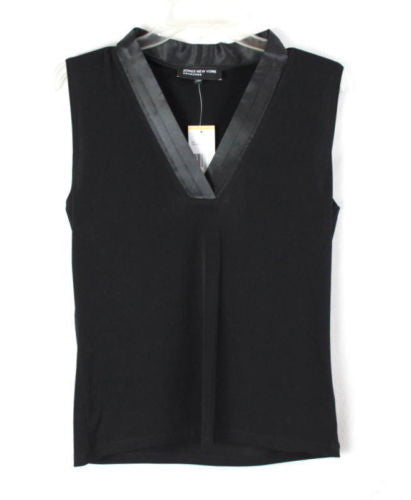Jones New York Blouse S size New Jet Black Vneck Sleeveless Top Satin Neckline - Jamies Closet - 1