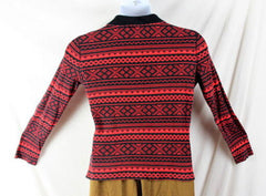 Ralph Lauren Active Sweater L size Red Black Zip Neck Henley Womens LRL Top - Jamies Closet - 6