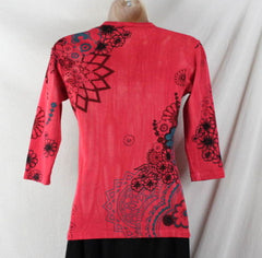 Glima Top XS Petite PXS size Red Floral 3.4 Sleeve Fitted All Season Tye Dye - Jamies Closet - 5
