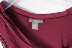 J Jill Lightweight Tank Top M Petite MP size Small Silver Bead Accent Burgundy - Jamies Closet - 6