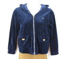 Lauren Ralph Lauren Jacket L size Womens Blue Velour Zip Hooded Gold Accents - Jamies Closet - 3