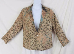 Tapestry Jacket L size Reversible Brown Blue Floral Lightweight All Season - Jamies Closet - 5
