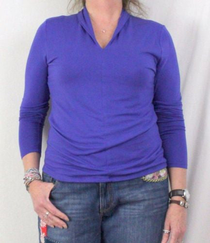 Soft Surroundings Blouse L size Blue Soft Rayon Easy Wear All Season Top Comfort - Jamies Closet - 1