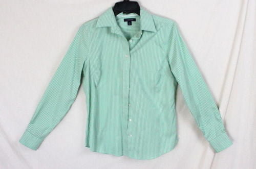Lands End Blouse 4 S Size Green White Stripe Long Sleeve Womens Shirt Easy Wear - Jamies Closet - 1