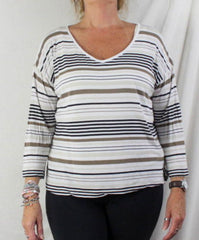 J Jill Top M size Multi Stripe Vneck Tee Shirt White Brown Black Lightweight - Jamies Closet - 1