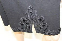 Yoana Baraschi 6 S size Dress Black Belted Knit Lace Embroidered Split Sleeve - Jamies Closet - 3