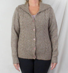 LL Bean Sweater M size Light Brown Flecked Womens Cable Cardigan Lightweight - Jamies Closet - 2