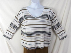 J Jill Top M size Multi Stripe Vneck Tee Shirt White Brown Black Lightweight - Jamies Closet - 3