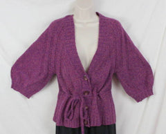 J Jill Sweater S size Purple Tie Waist Cardigan Short Sleeve Cotton Blend Womens - Jamies Closet - 1
