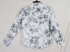 Talbots Blouse 4 size Gray White Floral Long Sleeve Womens Cotton Shirt Rose - Jamies Closet - 4