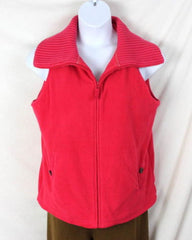 Lands End Fleece Vest L 14 16 size Bright Pink Zip Front Sweater Collar Heavy - Jamies Closet - 3