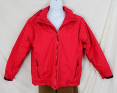 Lands End Jacket L 42 44 size Mens Red Zip Front Stow Away Aqua Check Thermolite - Jamies Closet - 2