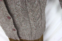 LL Bean Sweater M size Light Brown Flecked Womens Cable Cardigan Lightweight - Jamies Closet - 6