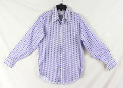 Arnolds Mens Shop M size Shirt Purple Blue White Retro Style Lightweight - Jamies Closet - 1