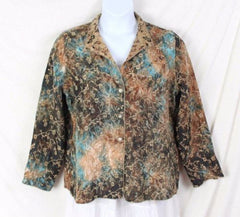 Tapestry Jacket L size Reversible Brown Blue Floral Lightweight All Season - Jamies Closet - 10