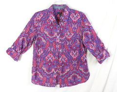 Talbots Blouse 6 S size New Multi Color Paisley Lightweight button front Womens - Jamies Closet - 1