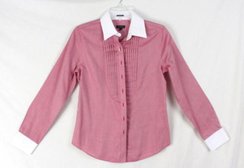 Talbots Shirt 2 XS size Womens Red White Button Wrinkle Resistant Top Work Play - Jamies Closet - 1