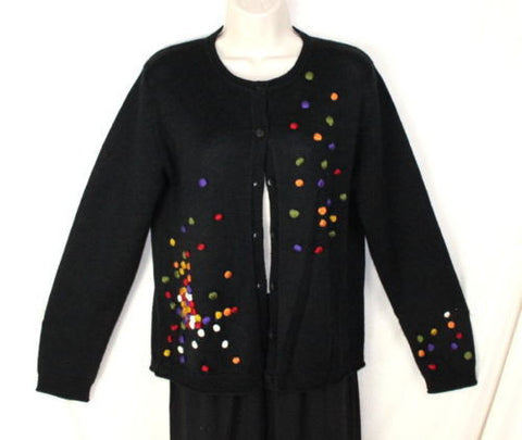 Carducci Sweater S size Cardigan Womens Black Colorful Ball Detail Acrylic Wool - Jamies Closet - 1