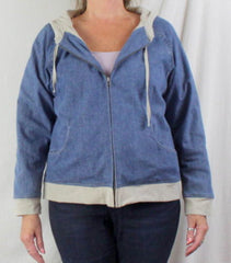 J Jill Jacket M size Zip Front Hooded Blue Denim Lined Box Fit All Season Casual - Jamies Closet - 2