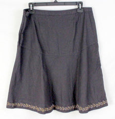 EMS Eastern Mountain Sports Skirt 6 S size Womens Brown Linen Blend Embroidered - Jamies Closet - 4