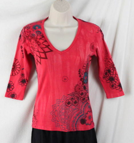 Glima Top XS Petite PXS size Red Floral 3.4 Sleeve Fitted All Season Tye Dye - Jamies Closet - 1