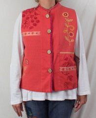 Cedar Canyon Vest L size New Orange Pink Embroidered Fun Loose Fit All Season - Jamies Closet - 2