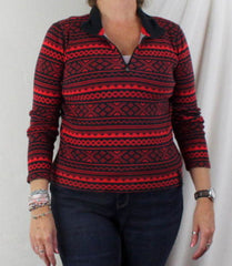 Ralph Lauren Active Sweater L size Red Black Zip Neck Henley Womens LRL Top - Jamies Closet - 8