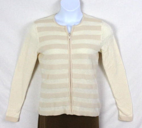 Sutton Studio Sweater M size Womens Bloomingdales Zip Cardigan Ivory Mixed Knit - Jamies Closet - 1