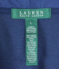 Lauren Ralph Lauren Jacket L size Womens Blue Velour Zip Hooded Gold Accents - Jamies Closet - 7
