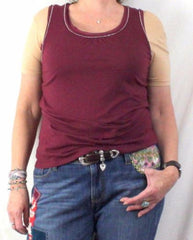 J Jill Lightweight Tank Top M Petite MP size Small Silver Bead Accent Burgundy - Jamies Closet - 1