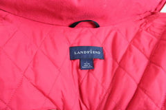 Lands End Jacket L 42 44 size Mens Red Zip Front Stow Away Aqua Check Thermolite - Jamies Closet - 6