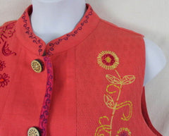 Cedar Canyon Vest L size New Orange Pink Embroidered Fun Loose Fit All Season - Jamies Closet - 5
