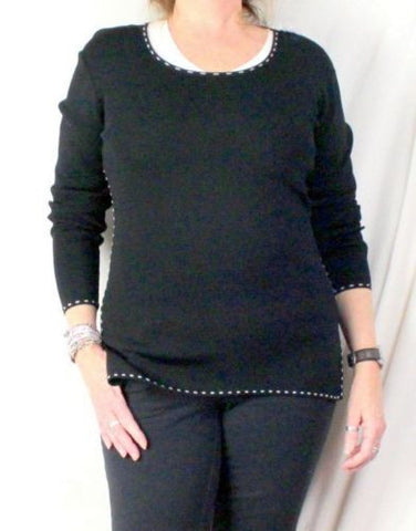 Cyrus M size Sweater Black White Accent Fine Knit Stretch Tunic All Season Top - Jamies Closet - 1