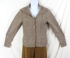 LL Bean Sweater M size Light Brown Flecked Womens Cable Cardigan Lightweight - Jamies Closet - 3