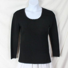 Cyrus M size Sweater Black White Accent Fine Knit Stretch Tunic All Season Top - Jamies Closet - 3