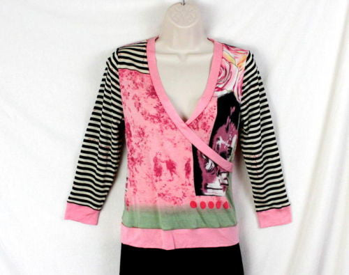 Lynn Ritchie Top S size Womens Pink Multi Color Graphic Wrap Over neck Shirt - Jamies Closet - 1