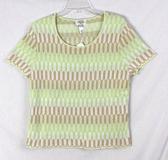Talbots XL size New Sweater Green White Beige Short Sleeve All Season Top Italy - Jamies Closet - 3