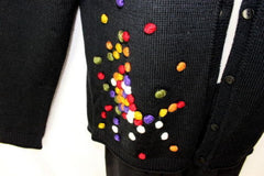 Carducci Sweater S size Cardigan Womens Black Colorful Ball Detail Acrylic Wool - Jamies Closet - 3