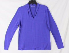 Soft Surroundings Blouse L size Blue Soft Rayon Easy Wear All Season Top Comfort - Jamies Closet - 3
