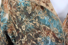 Tapestry Jacket L size Reversible Brown Blue Floral Lightweight All Season - Jamies Closet - 11