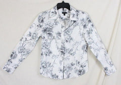 Talbots Blouse 4 size Gray White Floral Long Sleeve Womens Cotton Shirt Rose - Jamies Closet - 2