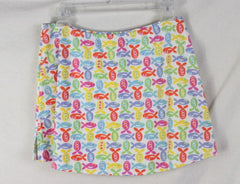 Fresh Produce Skirt 8 M size Multi Colored Fish Stretch Knit Mini Vacation Sport - Jamies Closet - 3